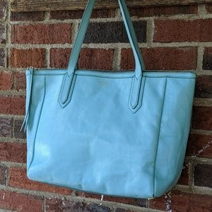 Fossil Sydney Shopper Tote, Leather, Aquamarine